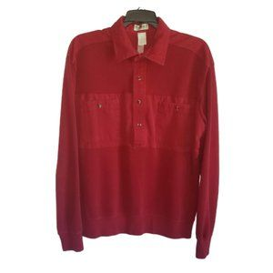Norm Thompson Red Banded Bottom Collared Shirt